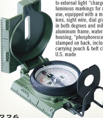 Gi Military Phosphorescent Lensatic Compass With Magnifying Lens