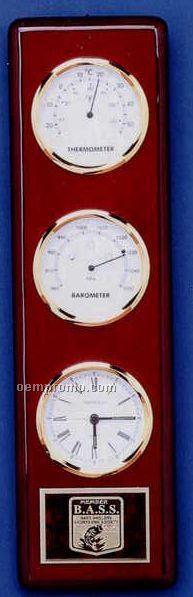 Piano Finish Executive Series Clock W/ Thermometer & Barometer
