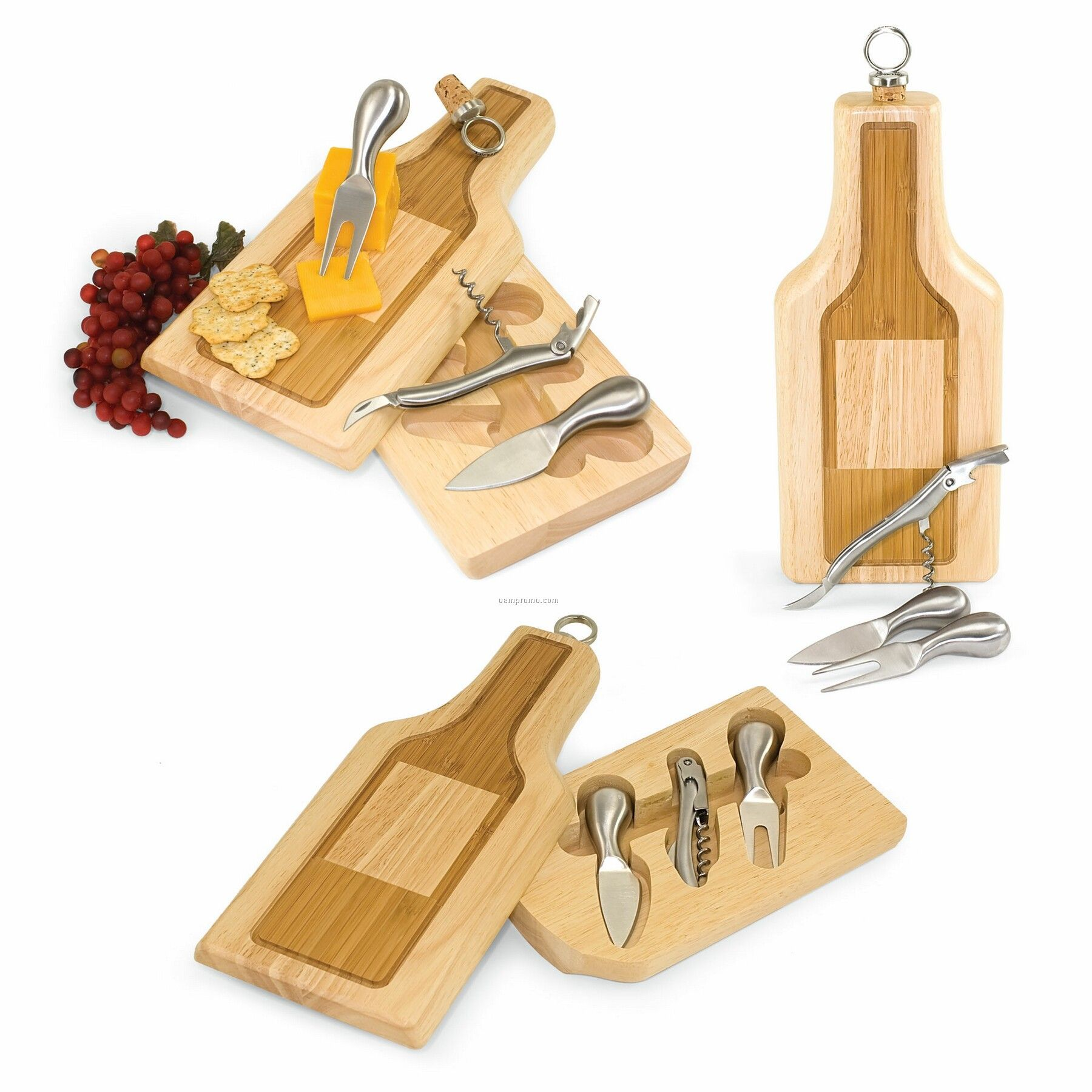 Silhouette Bottle Shaped Rubber Wood Cutting Board W/ 4 Wine & Cheese Tools