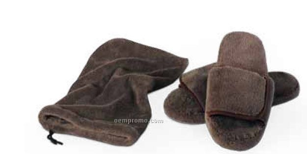 Chocolate Brown Velura Slippers (L-xl)