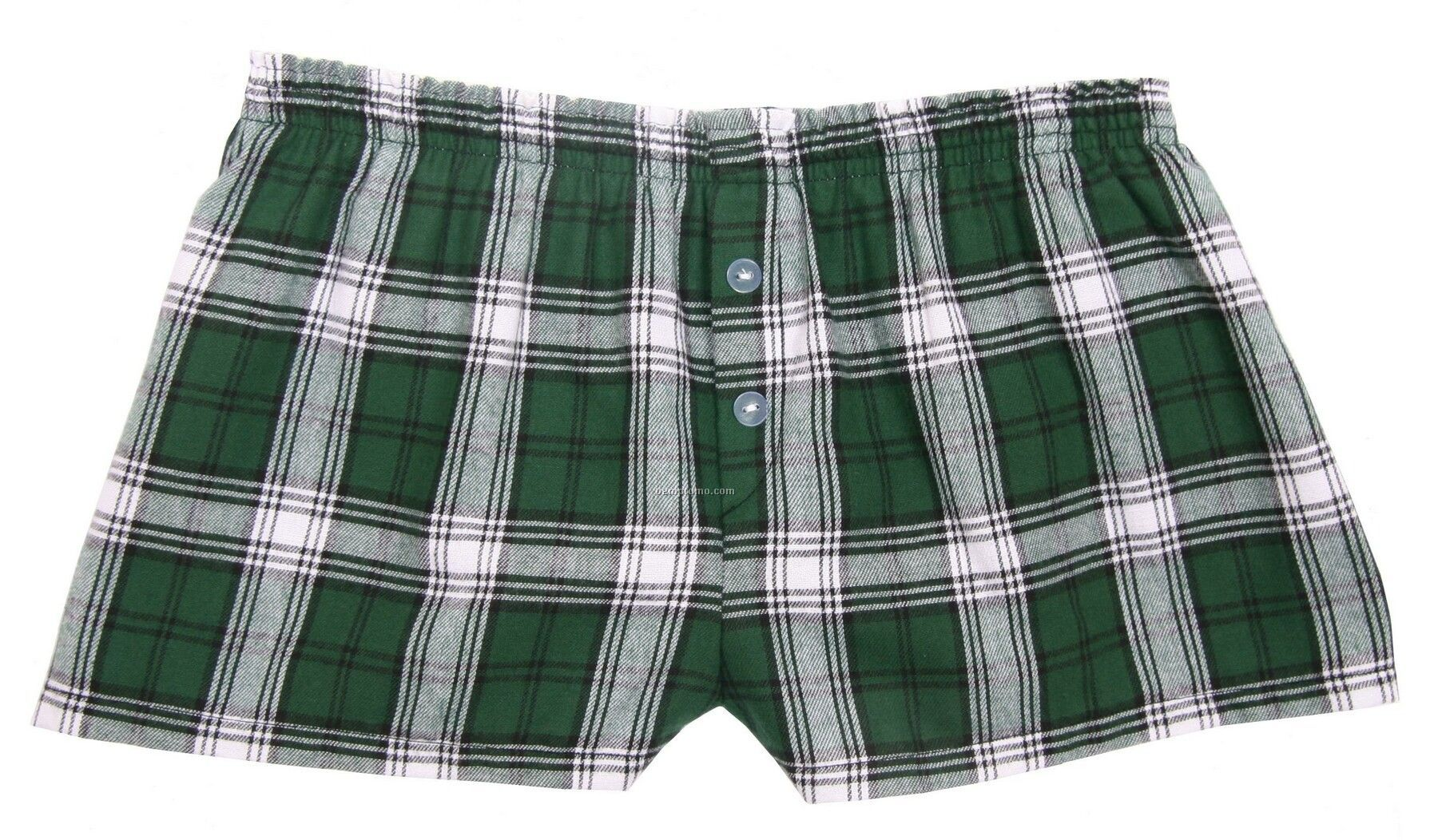 Ladies' Green/White Flannel Bitty Boxer Short With False Fly
