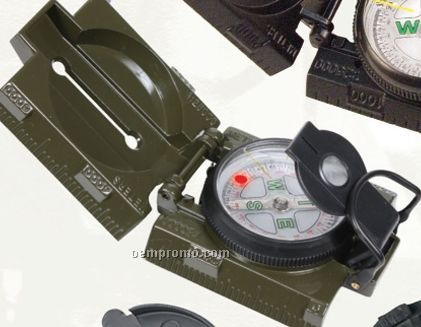 Olive Green Drab Military Marching Compass With Magnifying Glass