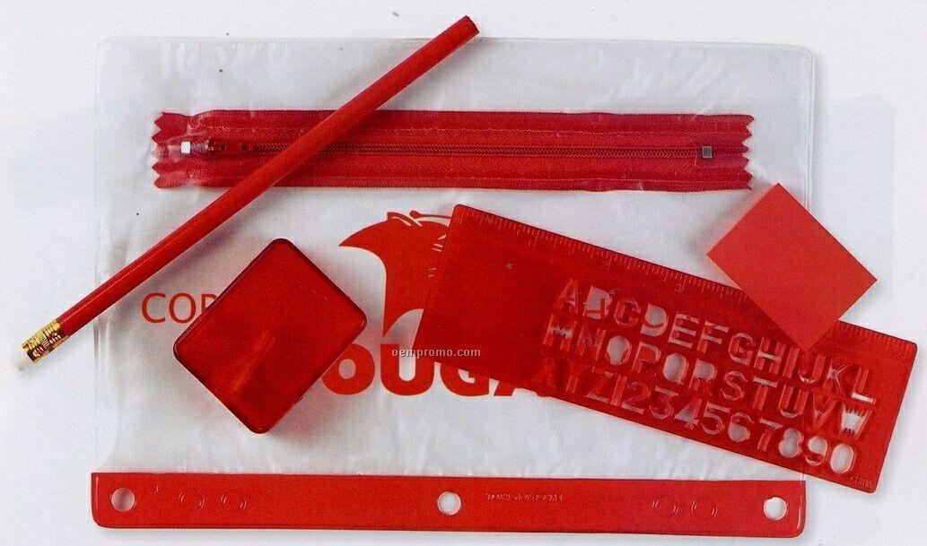 School Kit W/ 3 Hole Zipper Case