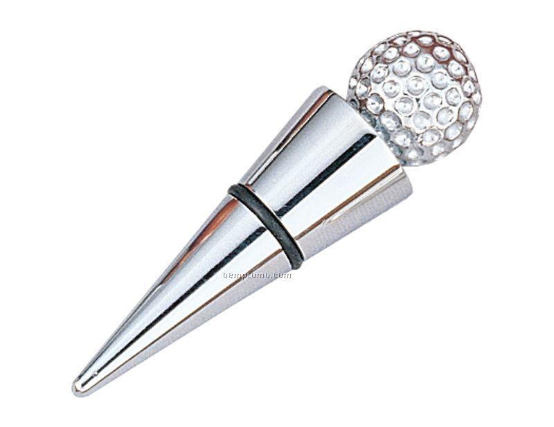 Golfer's Wine Stopper With Golf Ball Top