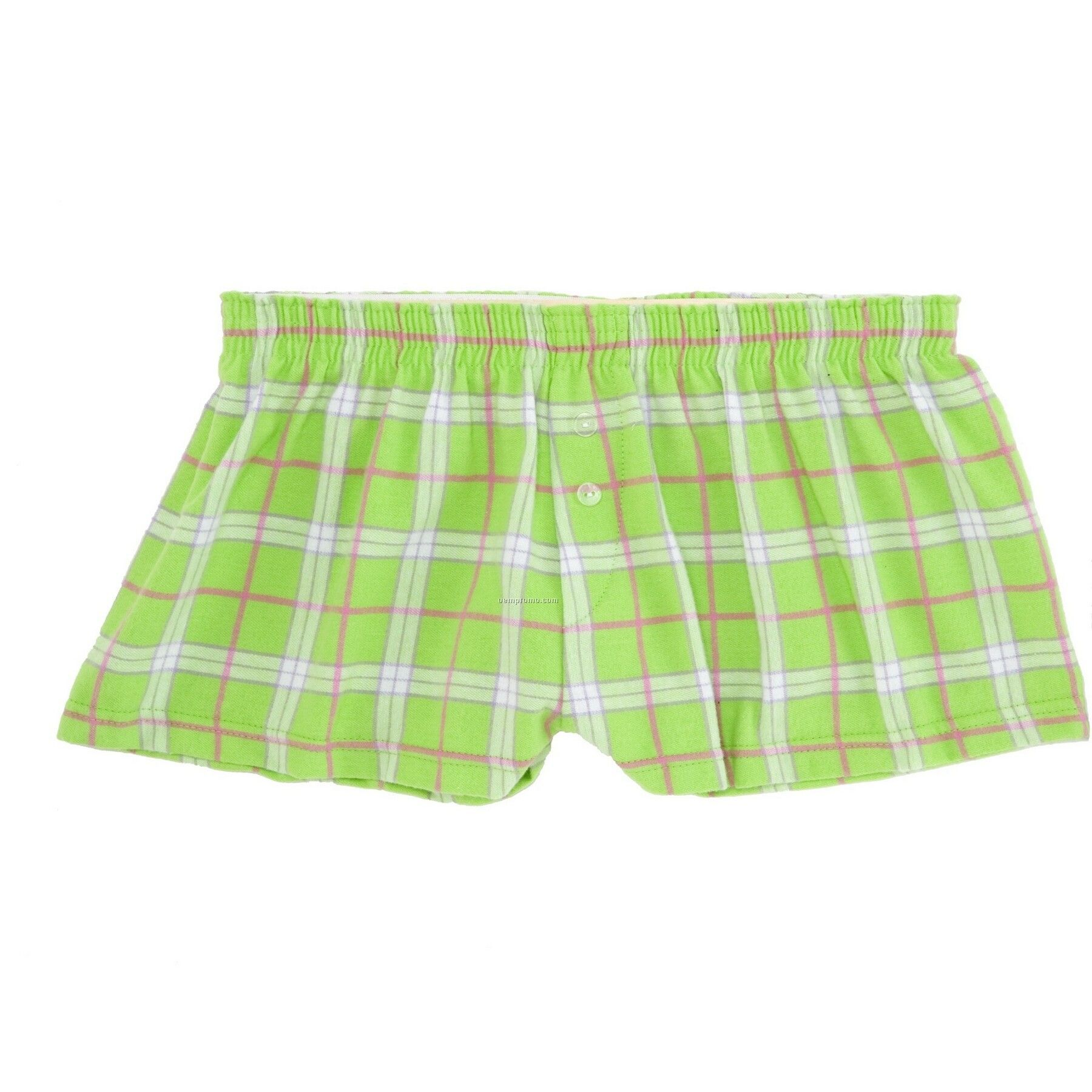 Ladies' Lime Green Flannel Bitty Boxer Short With False Fly