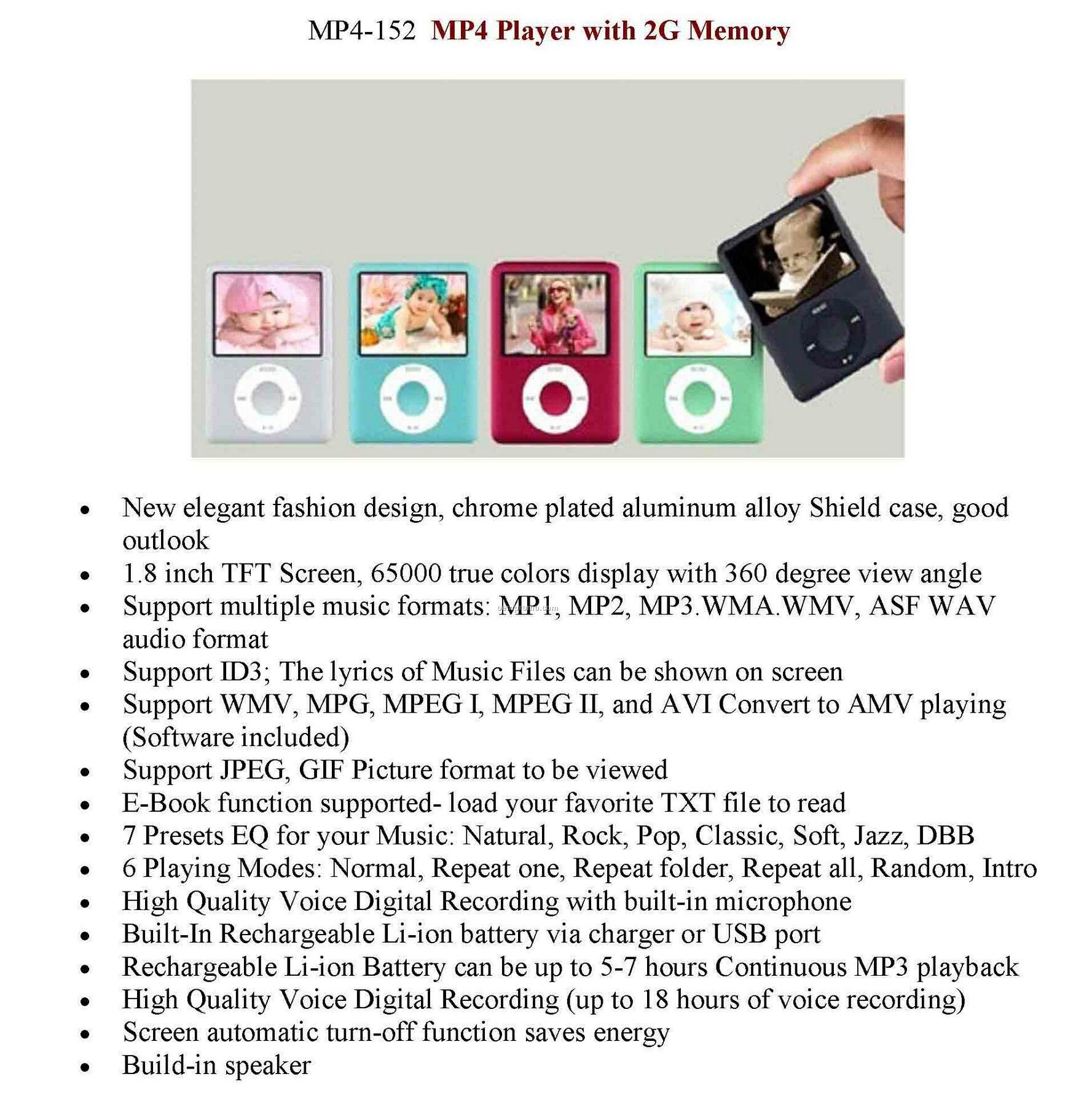 Mp4 Video Music Player With 2g Memory & Voice Recorder