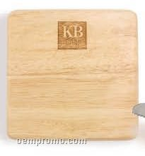 "Square Rubber Wood Cutting Board (6""X6""X0.75"")"