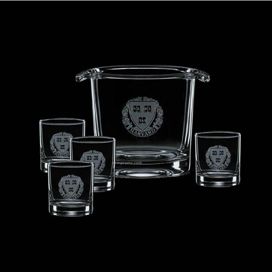 Aristocrat Ice Bucket With 4 On The Rocks Glasses