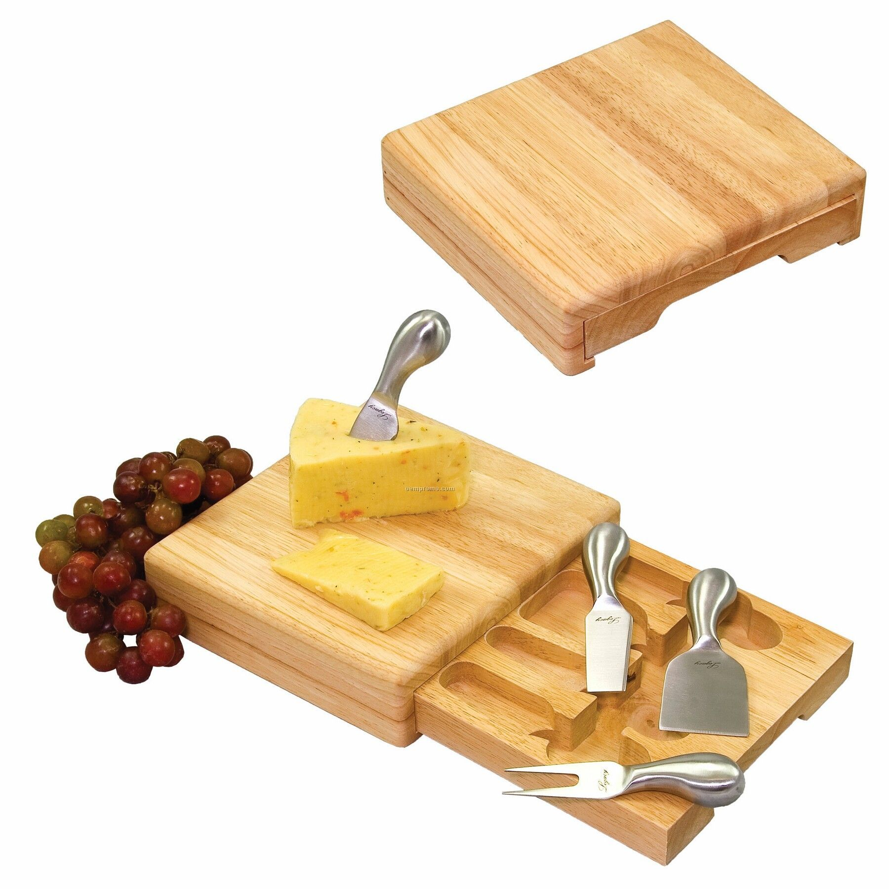 Festiva Square Rubber Wood Cutting Board W/ Drawer & 4 Cheese Tools