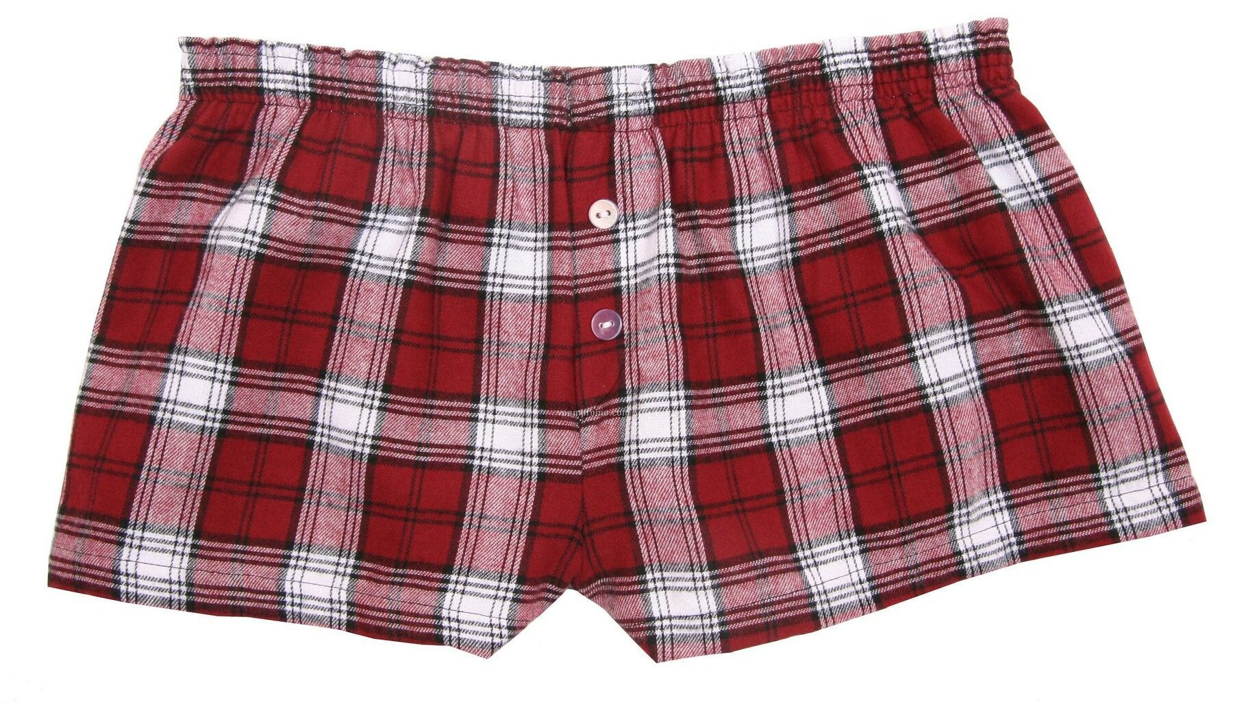 Ladies' Maroon Red/White Flannel Bitty Boxer Short With False Fly