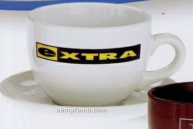 15 Oz. Latte Cup/ Saucer Set (White)
