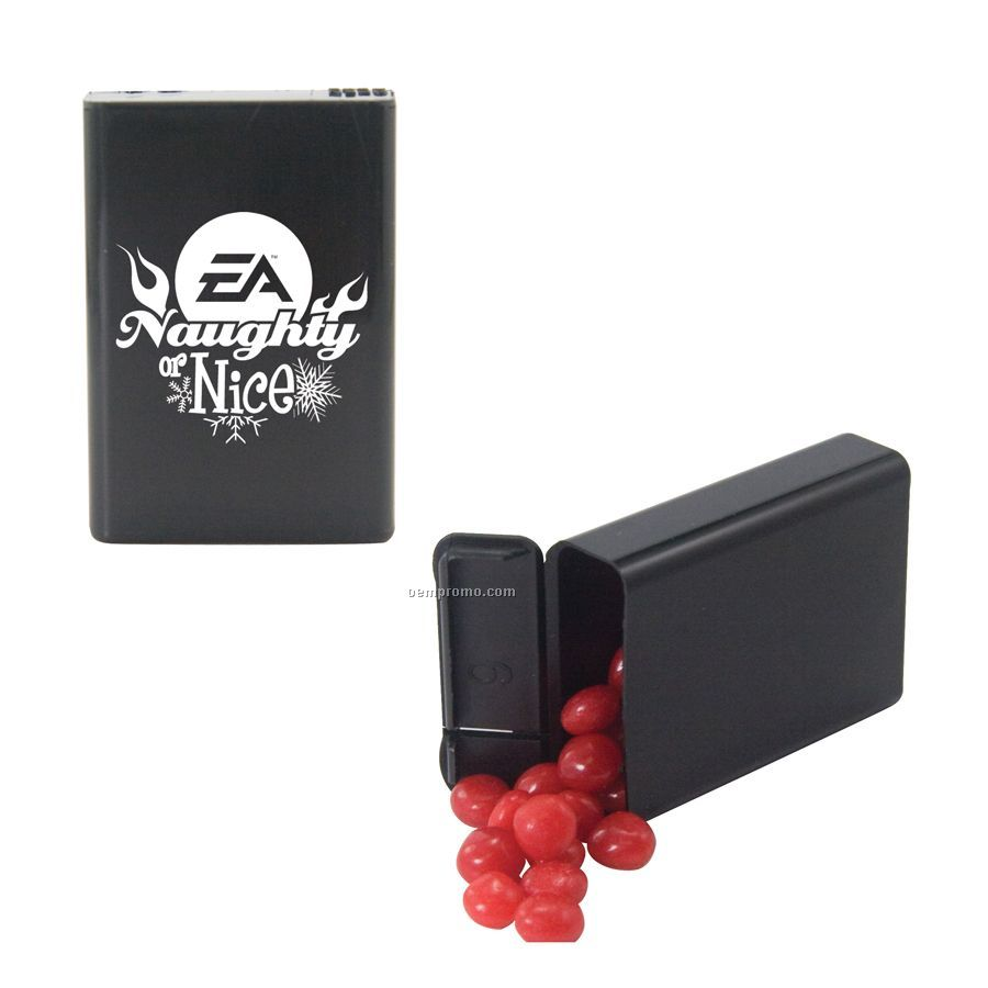 Black Refillable Plastic Mint/ Candy Dispenser With Cinnamon Red Hots