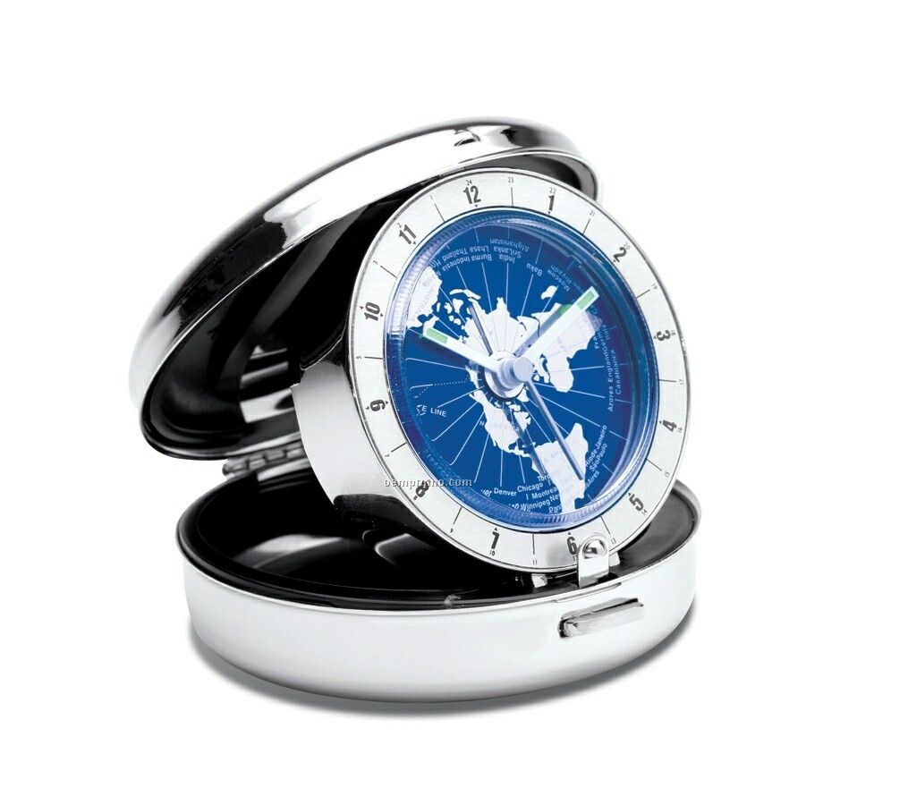 Pacifica Blue Dial World Time Travel Clock