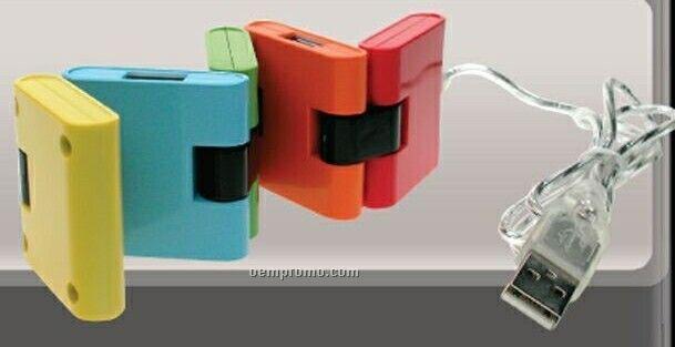 Small Square Expandable 4 Port USB Hub