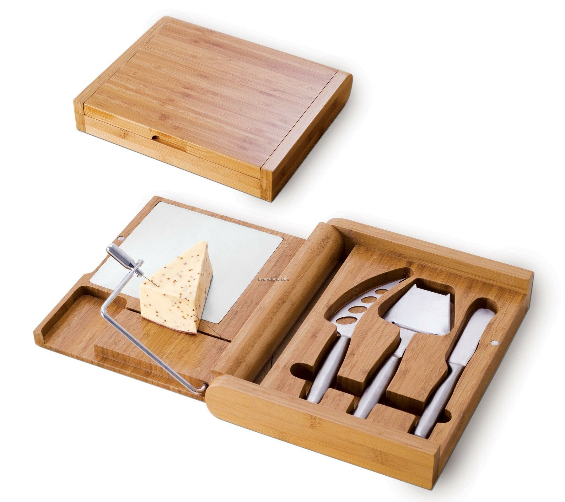 Soiree Bamboo Cutting Board W/ Cheese Wire & 3 Tools In Lidded Box