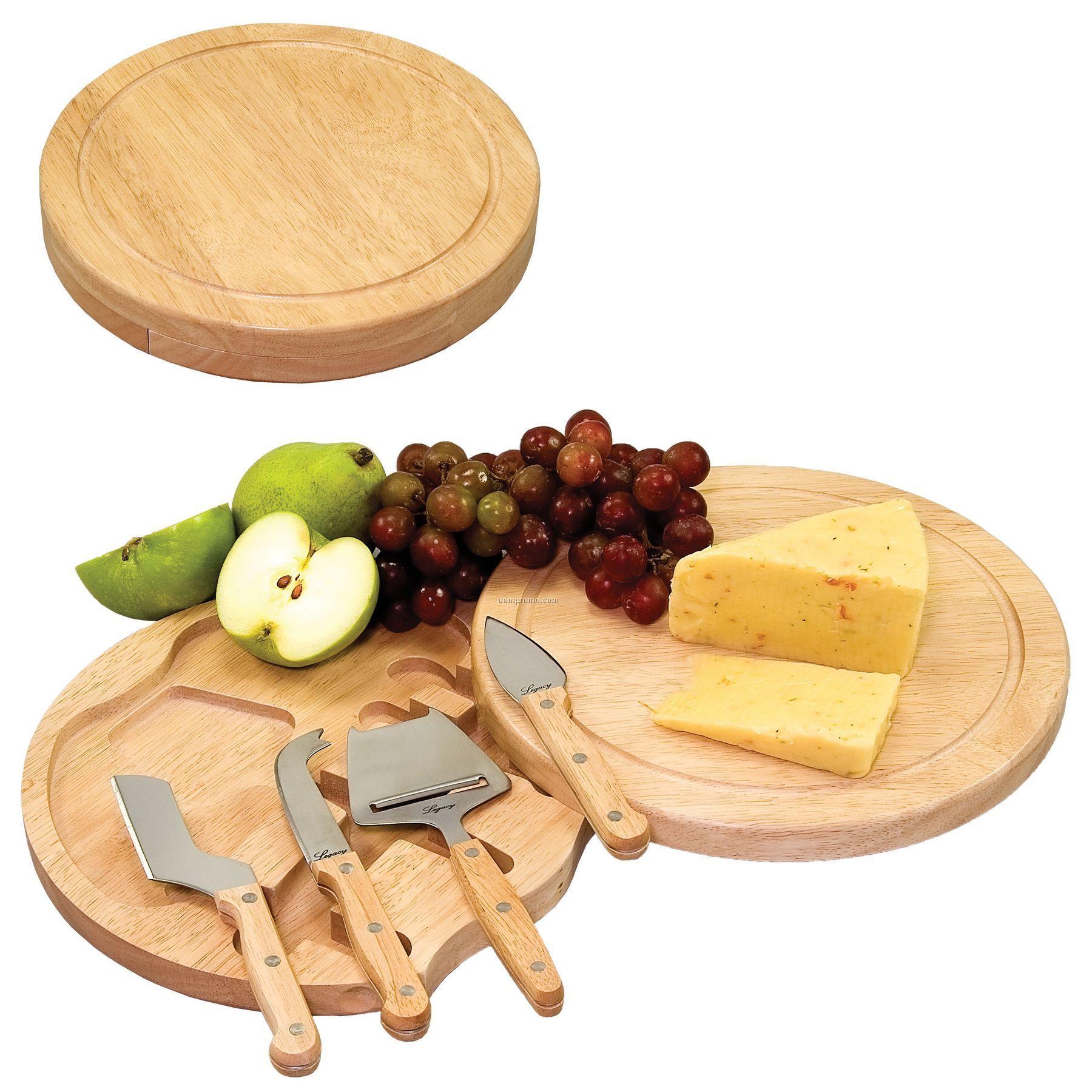 "Circo 10.2"" Circular Cutting Board W/ 4 Stainless Steel Cheese Tools"
