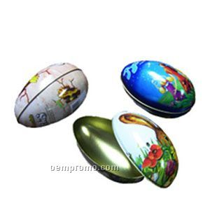 Egg Shaped Tin Container
