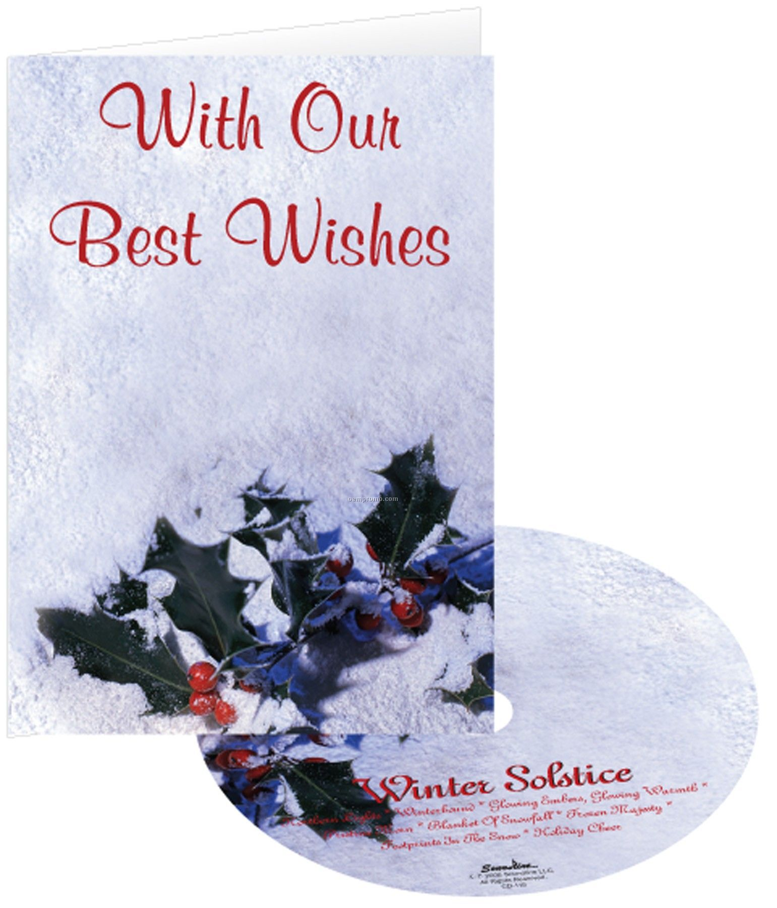 Holly In Snow Holiday Greeting Card W/ Matching CD