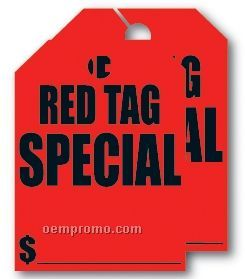 V-t Fluorescent Mirror Hang Tag - Red Tag Special (8 1/2