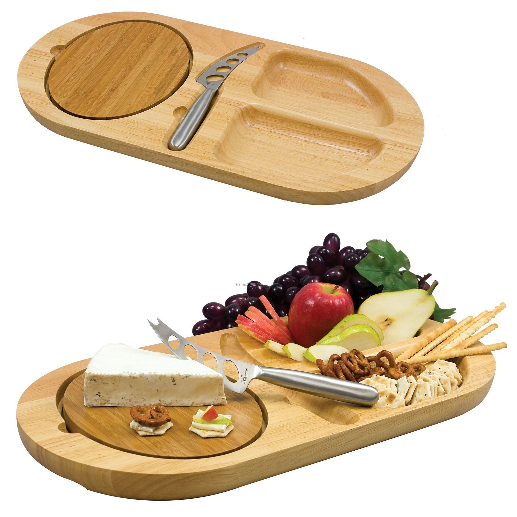 Fontina Oval Wood Serving Tray W/ 2 Carved Moats & Removable Cutting Board