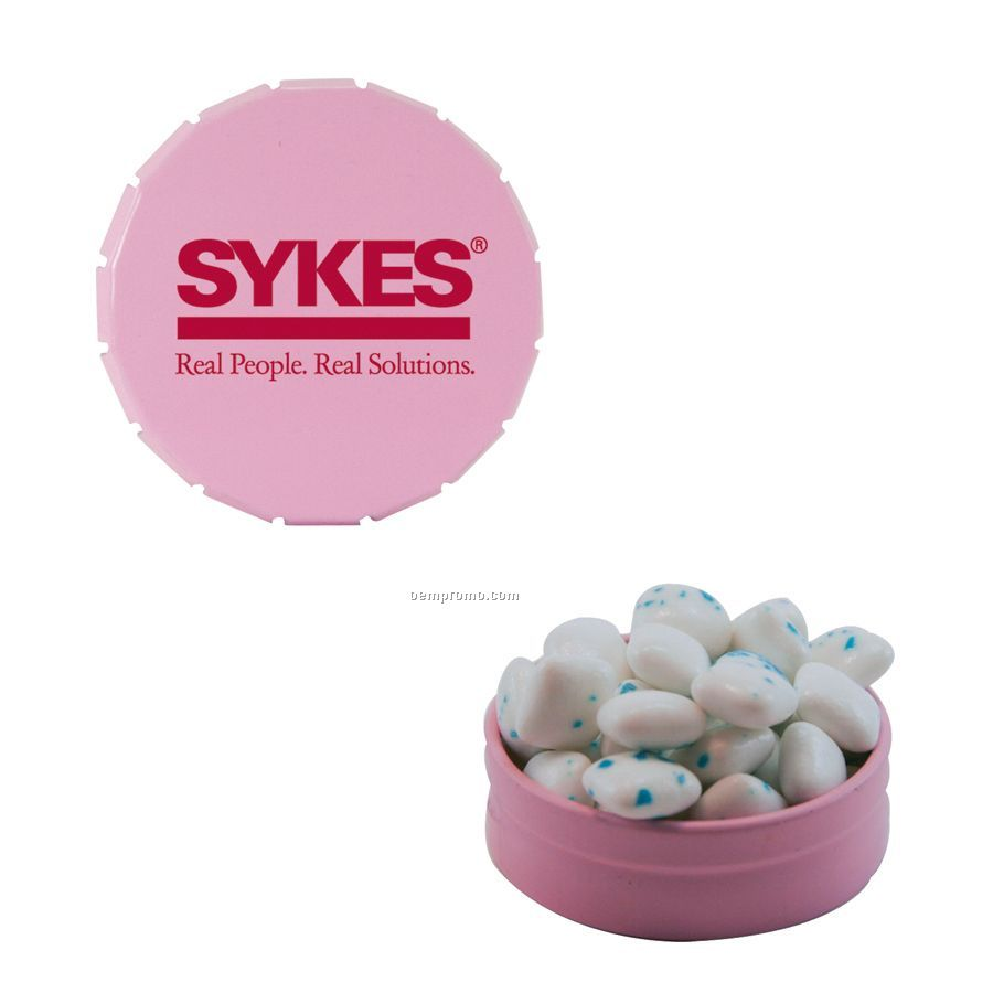 Small Pink Snap-top Mint Tin Filled With Sugar Free Gum