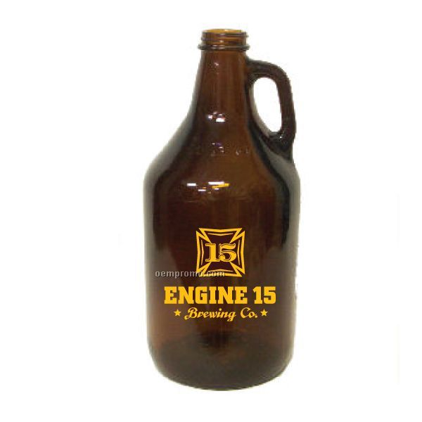 64 Oz. Amber Glass Growler