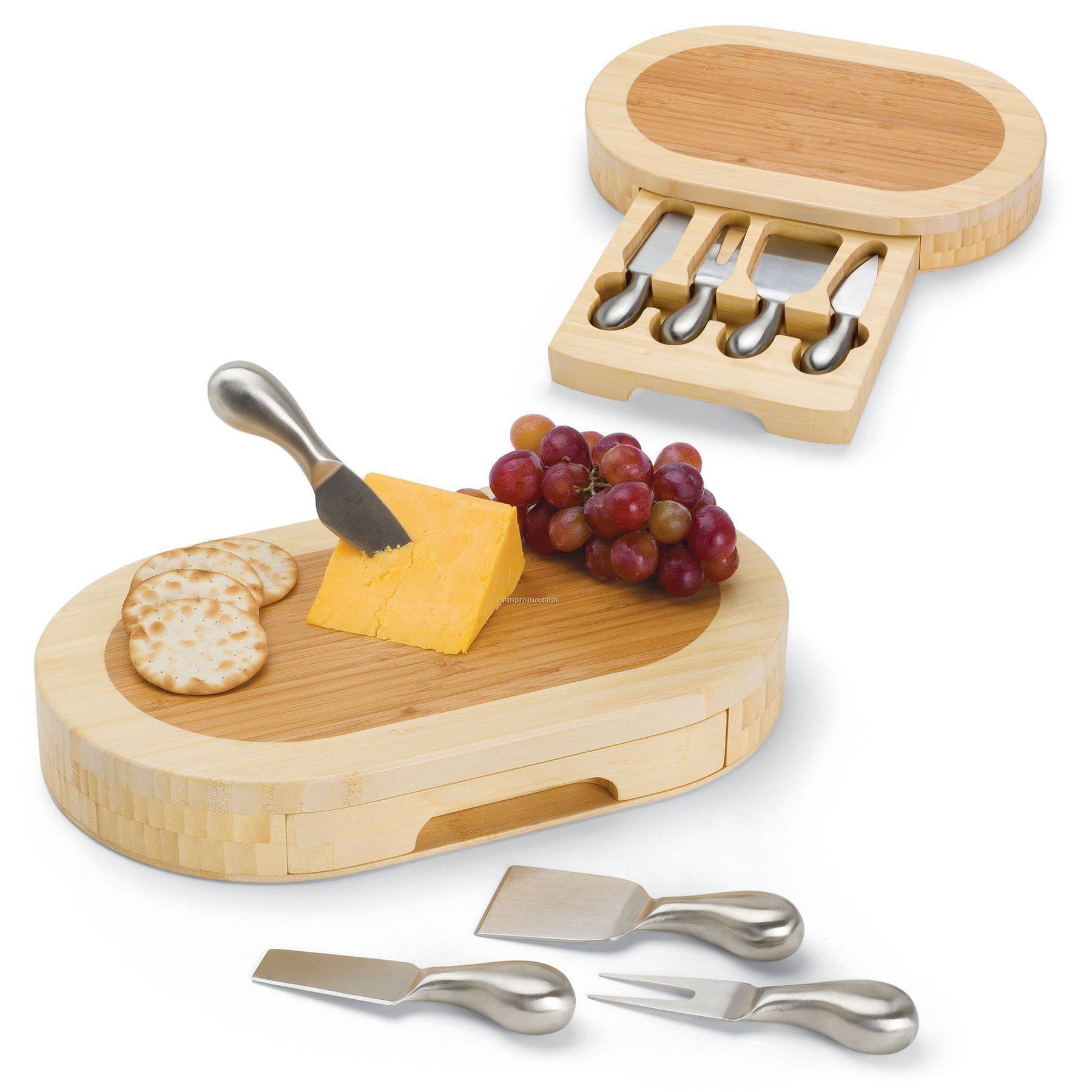Formaggio Oval Cutting Board W/ Slide Out Drawer & 4 Cheese Tools