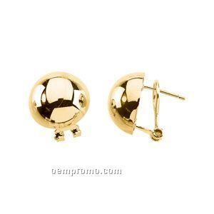15-3/4mm Ladies' 14ky Half Ball Earring