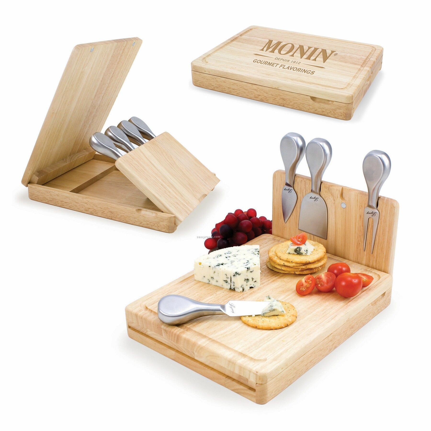Asiago Rubber Wood Cutting Board W/ Tuck Away Panel & 4 Cheese Tools
