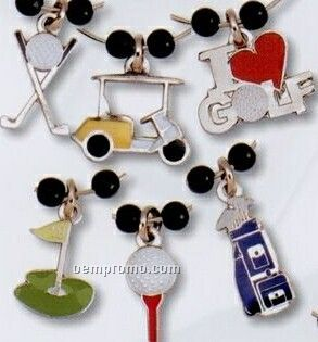 Golf Related Stock Wine Glass Charm Set