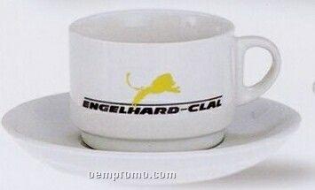 6 Oz. Cappuccino Cup/ Saucer Set (White)