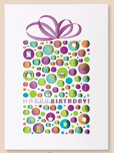 Birthday Bubbles Card W/ Silver Lined Envelope