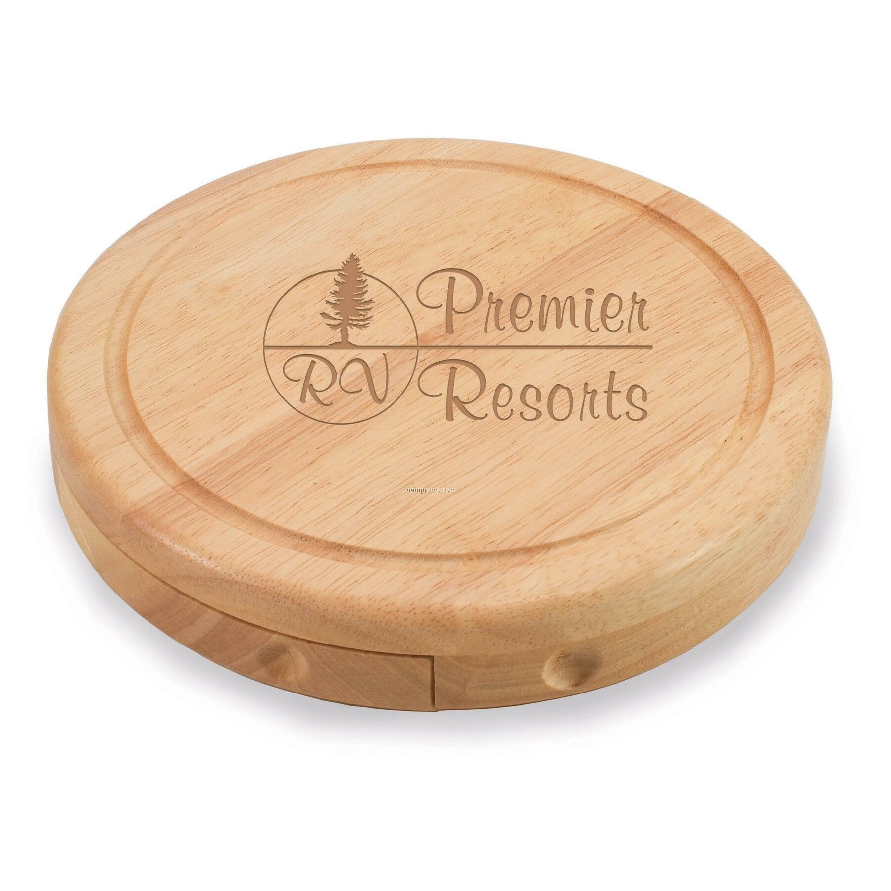 """Brie 7.5"""" Circular Cutting Board W/ 3 Stainless Steel Cheese Tools"""