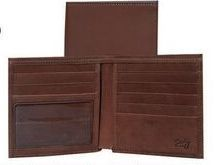 Brown Ostrich Calfskin Leather Credit Two Fold Wallet W/Id Window