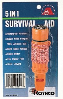 Deluxe 5-in-1 Survivor With Whistle/ Compass & Signal Mirror