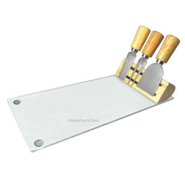 Glass Entertaining Cheese Set (Laser Engraving On Utensil Holder)