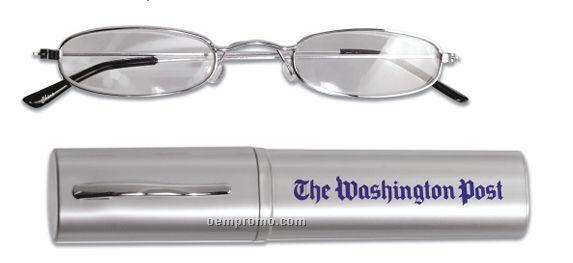 Reading Glasses In Round Tube Case