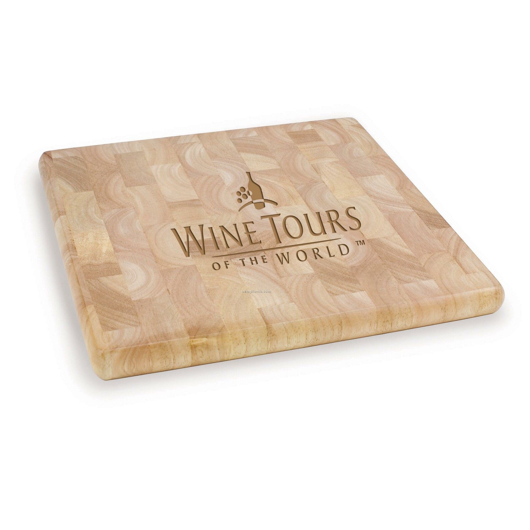 butcher block square wood cutting board w mosaic pattern