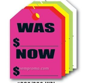 "V-t Fluorescent Mirror Hang Tag - Was/ Now (8 1/2""X11 1/2"")"