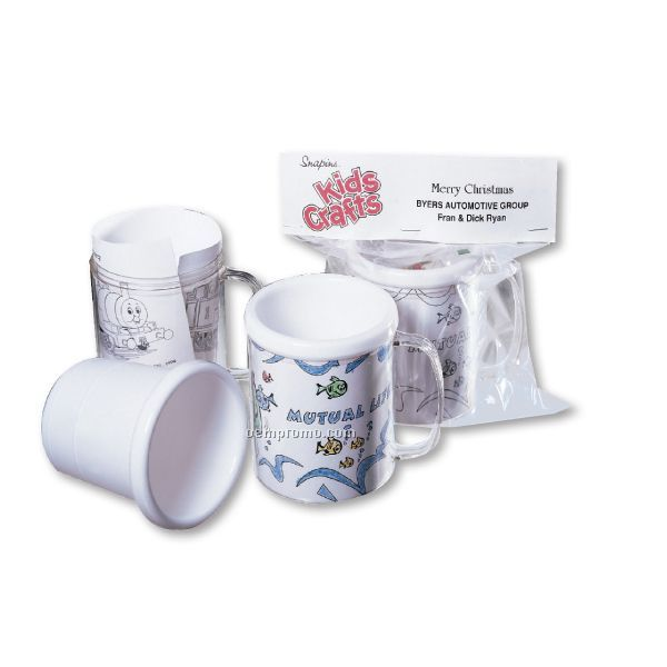 11 Oz. Snap In Craft Mug W/ 4 Pack Crayons