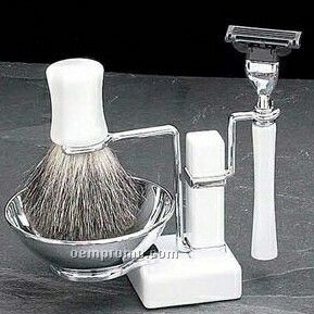 Mach 3 Razor, Badge Brush & Soap Dish On White Enamel Stand