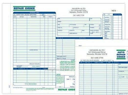 3 Part Auto Repair Fl Repair Order Formatted Snap Sets