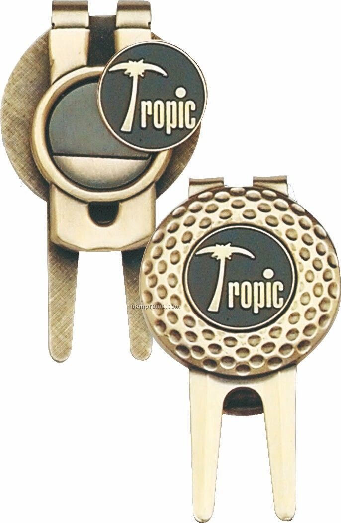 Dimpled Pattern 2-sided Divot Tool W/ Money Clip