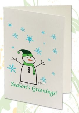 Plant A Shape Holiday Cards - Season's Greenings! (Snowman)