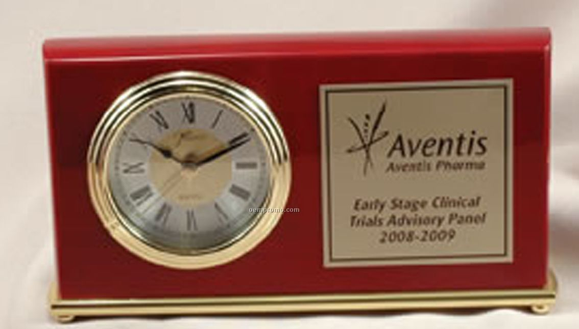 """Rectangle Rosewood Piano Finished Clock (7-1/2""""X4"""")"""