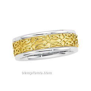 14ktt 8mm Men's Hand Woven Wedding Band Ring (Size 11) Gold Center