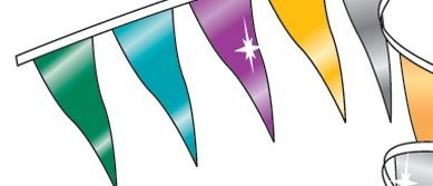 60' Metallic Rainbow Pennants W/ 40 Per String - Assorted
