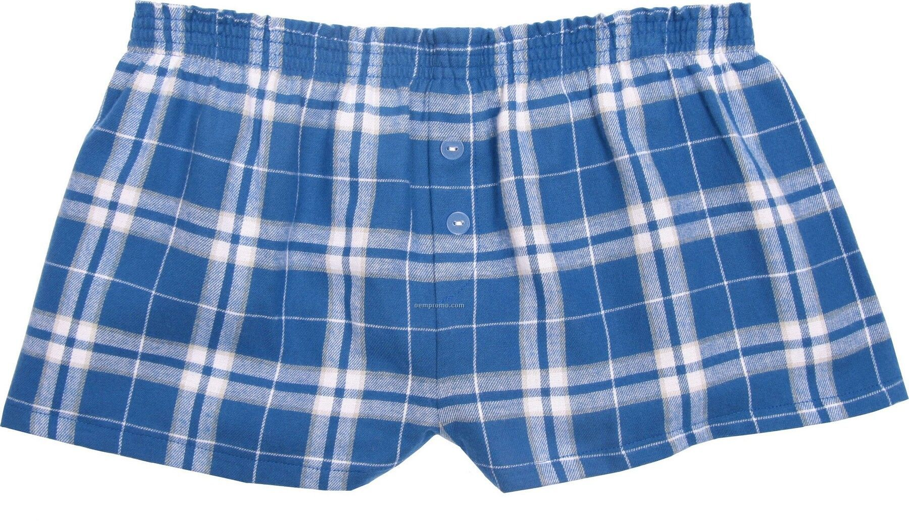 Ladies' Royal Blue/Silver Flannel Bitty Boxer Short With False Fly