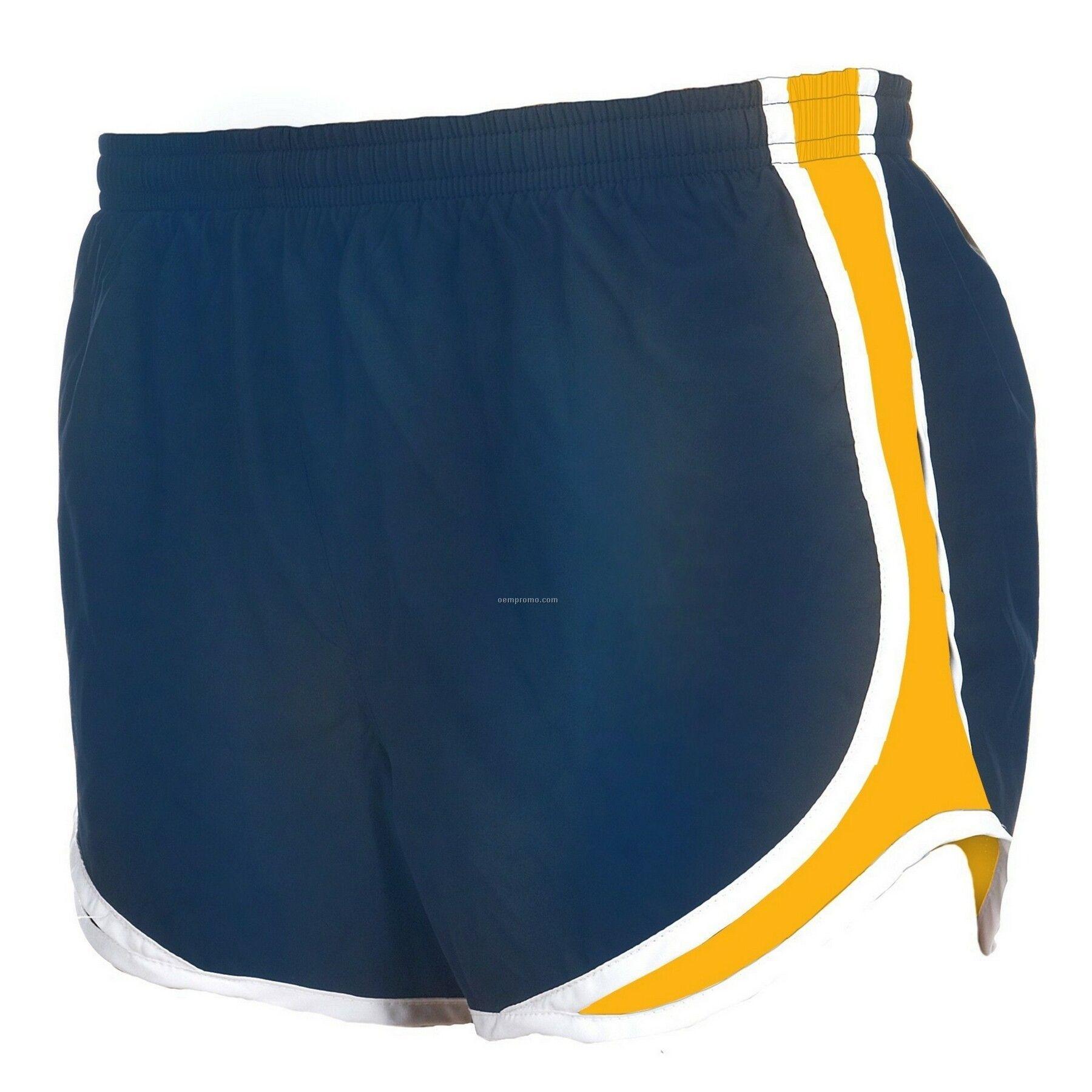 Adult Navy Blue/White/Gold Velocity Shorts
