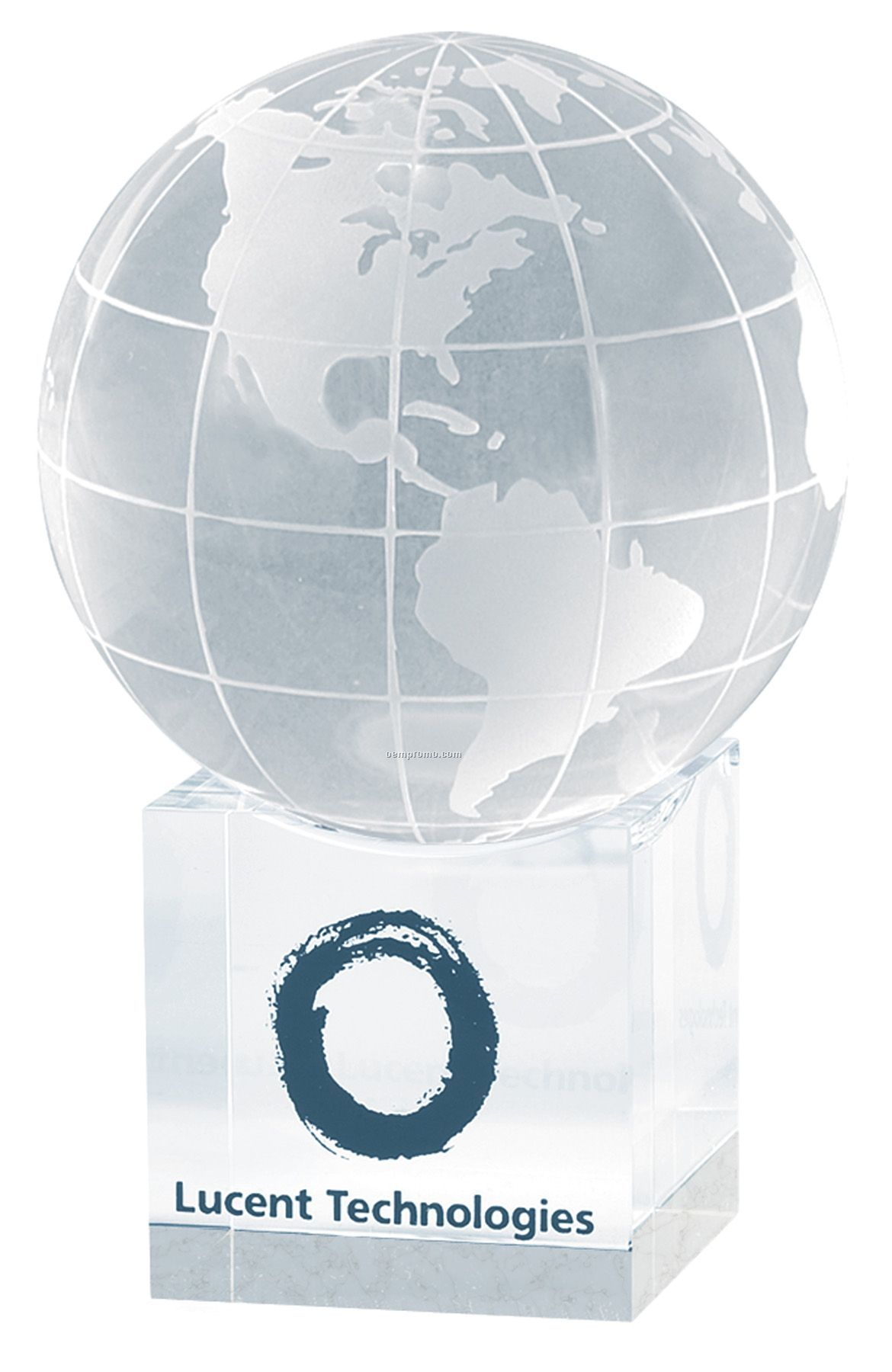 Clear Cube World Globe And Base